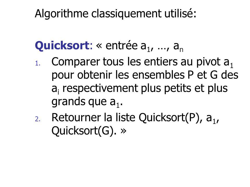 Algorithme classiquement utilisé: Quicksort: « entrée a 1, …, a n 1. Comparer tous les entiers au pivot a 1 pour obtenir les ensembles P et G des a i