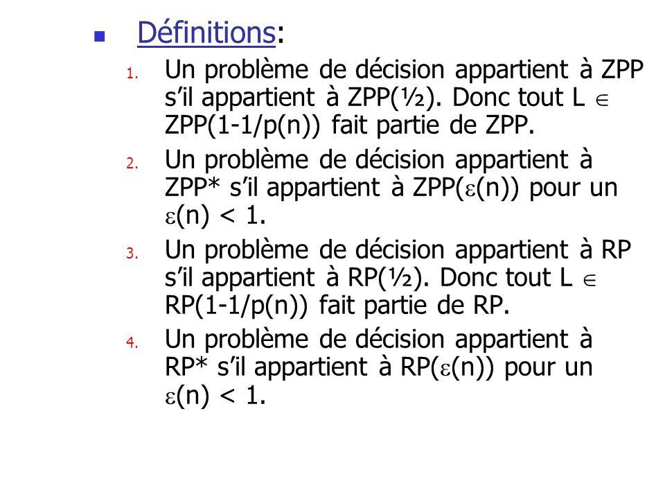 Définitions: 1. Un problème de décision appartient à ZPP sil appartient à ZPP(½). Donc tout L ZPP(1-1/p(n)) fait partie de ZPP. 2. Un problème de déci