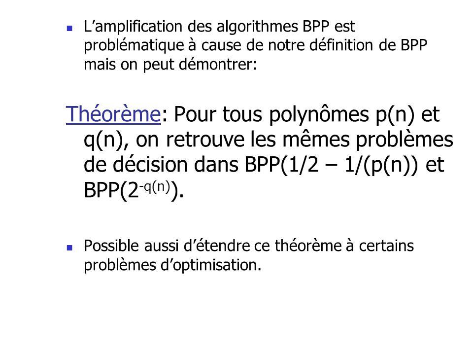 Lamplification des algorithmes BPP est problématique à cause de notre définition de BPP mais on peut démontrer: Théorème: Pour tous polynômes p(n) et