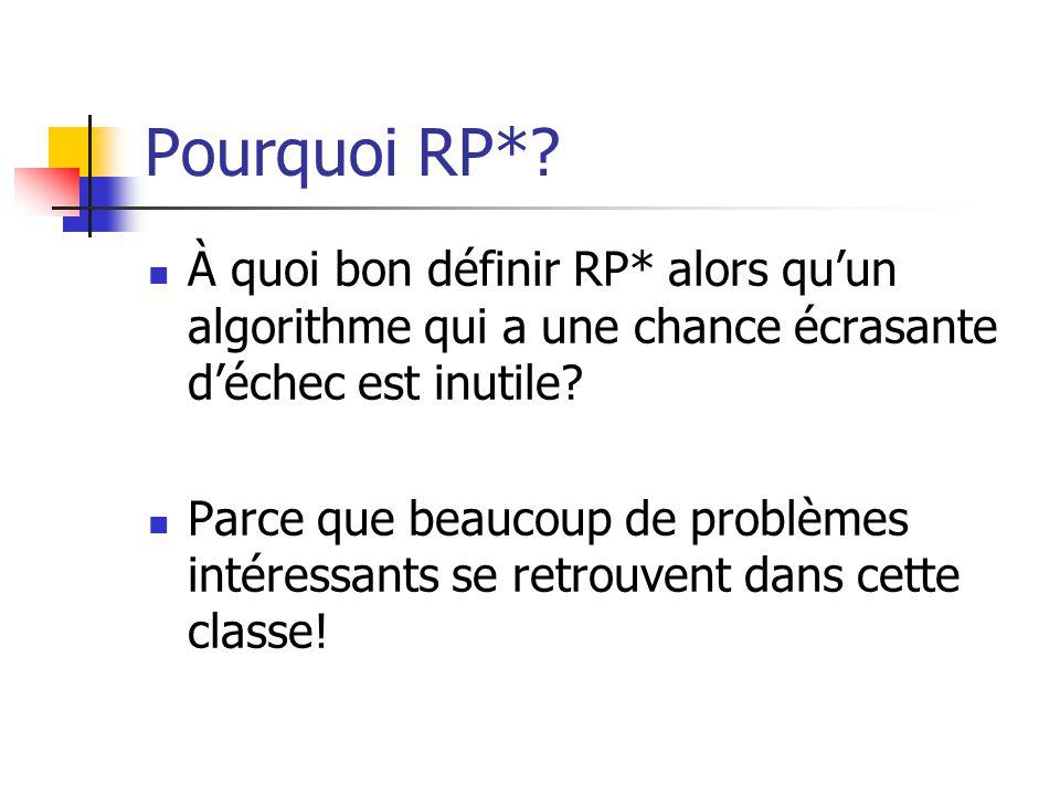 Pourquoi RP*? À quoi bon définir RP* alors quun algorithme qui a une chance écrasante déchec est inutile? Parce que beaucoup de problèmes intéressants