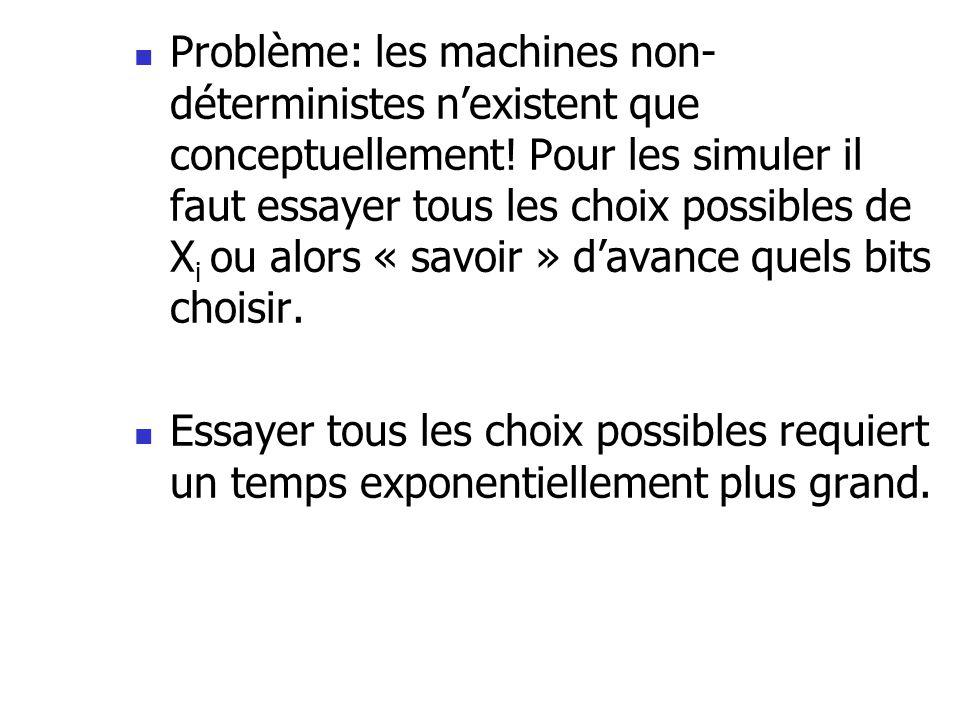 Problème: les machines non- déterministes nexistent que conceptuellement! Pour les simuler il faut essayer tous les choix possibles de X i ou alors «