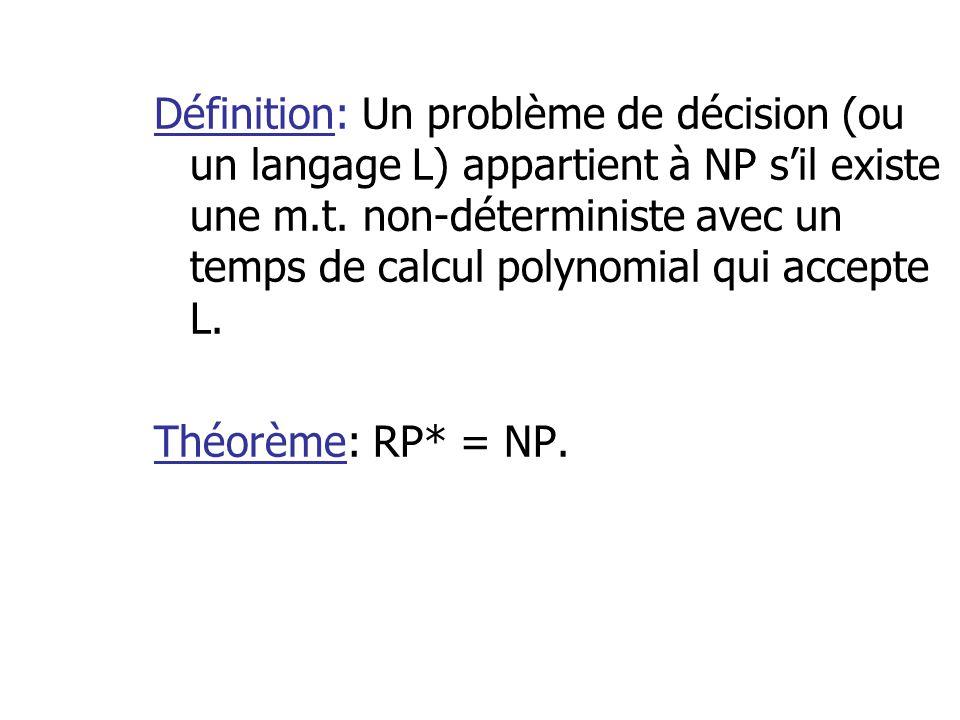 Définition: Un problème de décision (ou un langage L) appartient à NP sil existe une m.t. non-déterministe avec un temps de calcul polynomial qui acce