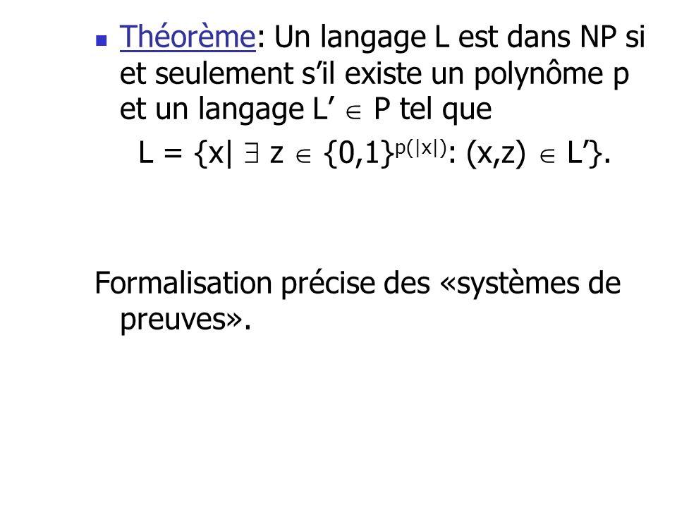 Théorème: Un langage L est dans NP si et seulement sil existe un polynôme p et un langage L P tel que L = {x| z {0,1} p(|x|) : (x,z) L}. Formalisation