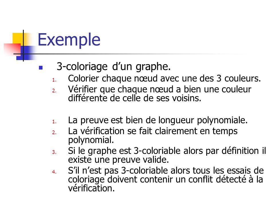 Exemple 3-coloriage dun graphe. 1. Colorier chaque nœud avec une des 3 couleurs. 2. Vérifier que chaque nœud a bien une couleur différente de celle de