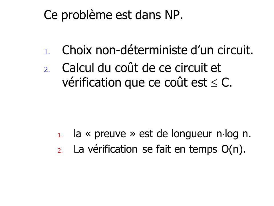 Ce problème est dans NP. 1. Choix non-déterministe dun circuit. 2. Calcul du coût de ce circuit et vérification que ce coût est C. 1. la « preuve » es