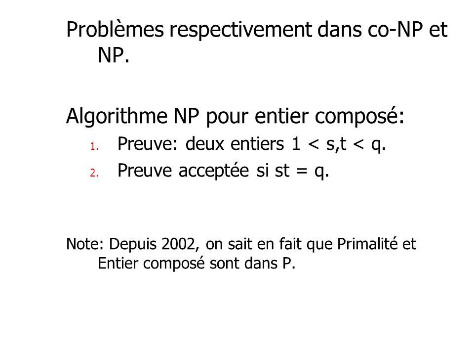 Problèmes respectivement dans co-NP et NP. Algorithme NP pour entier composé: 1. Preuve: deux entiers 1 < s,t < q. 2. Preuve acceptée si st = q. Note: