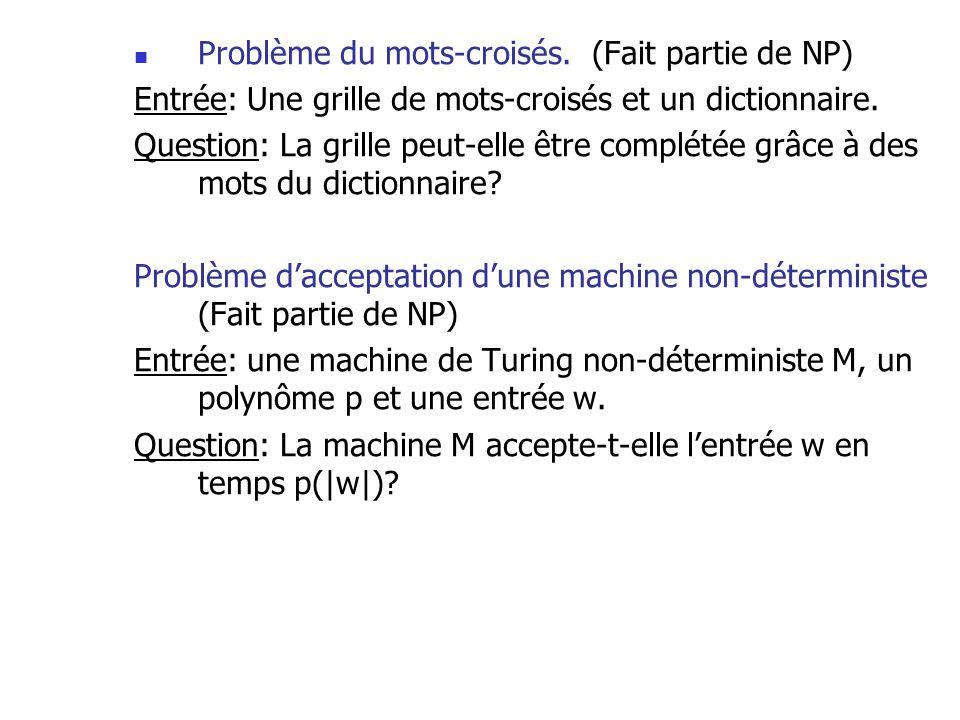 Problème du mots-croisés. (Fait partie de NP) Entrée: Une grille de mots-croisés et un dictionnaire. Question: La grille peut-elle être complétée grâc