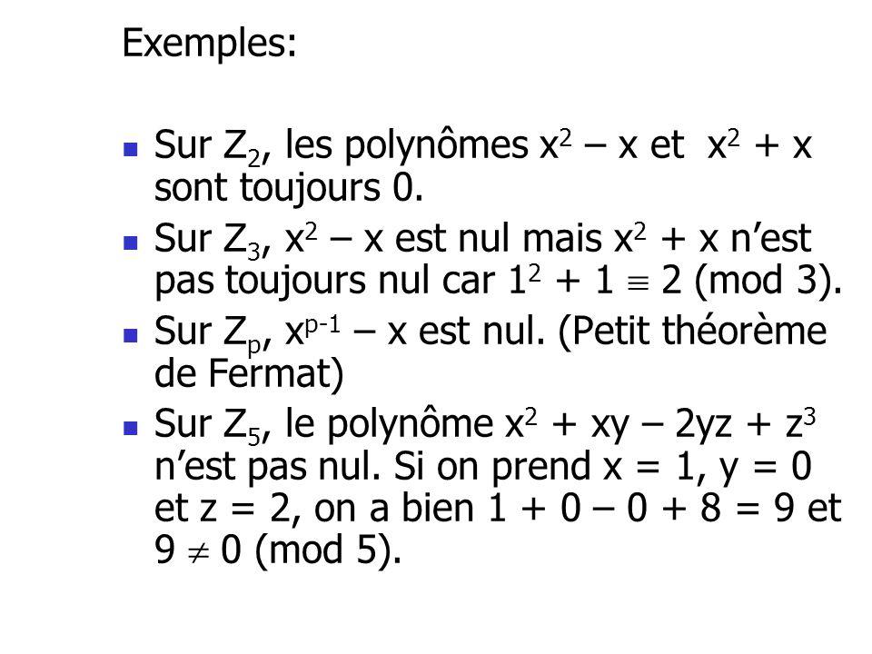 Exemples: Sur Z 2, les polynômes x 2 – x et x 2 + x sont toujours 0. Sur Z 3, x 2 – x est nul mais x 2 + x nest pas toujours nul car 1 2 + 1 2 (mod 3)