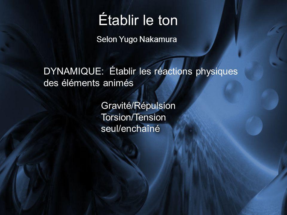 Établir le ton Selon Yugo Nakamura DYNAMIQUE: Établir les réactions physiques des éléments animés Gravité/Répulsion Torsion/Tension seul/enchaîné