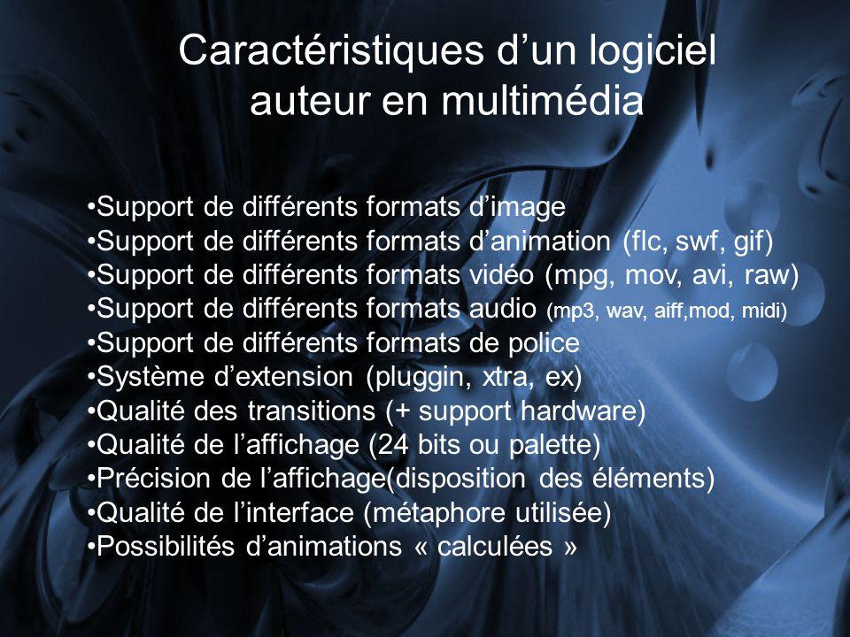 Caractéristiques dun logiciel auteur en multimédia Gestion des polices Gestion de lanti-alias (lissage) sur polices et des formes Gestion de la transparence (alpha) Formats de publication (vidéo, audio, HTML, email, exe, composantes web, etc.) Utilisation du matériel daffichage (via Direct Draw, Direct X, carte 3D, etc.) Gestion dinterface matériel (trackball, touch screen, gamepad, etc.) Gestion de canaux de sons indépendants Environnement 3D Puissance du langage de programmation.