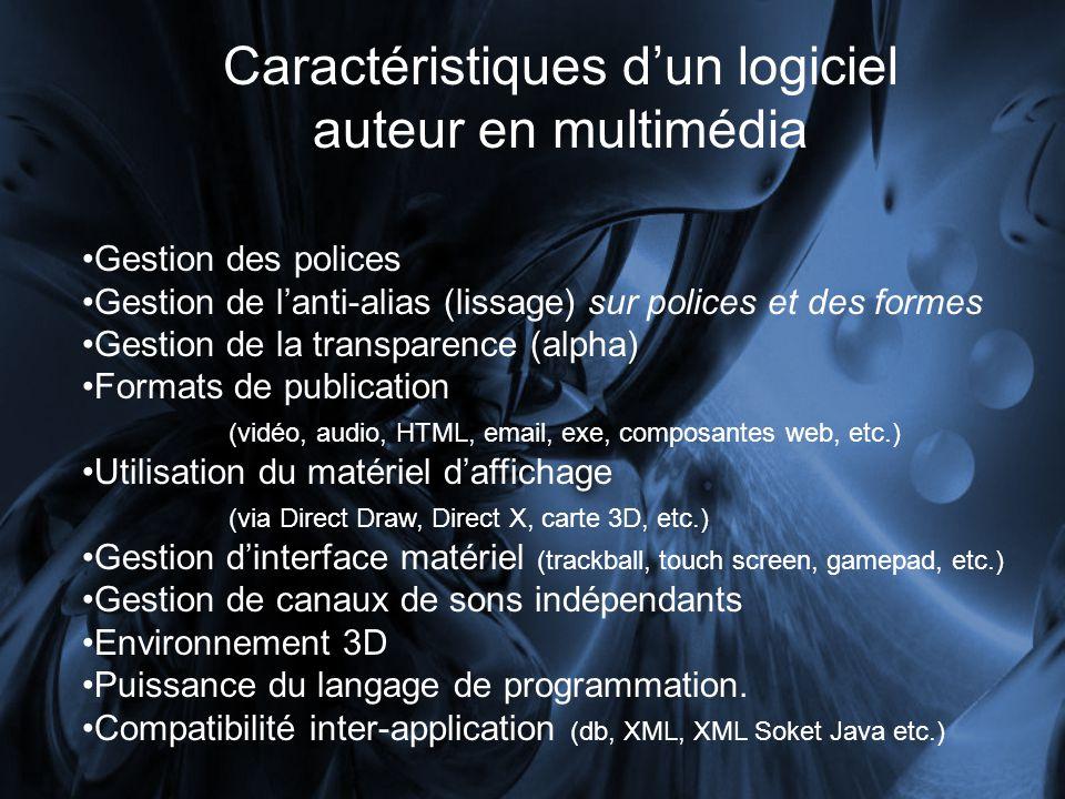 Caractéristiques dun logiciel auteur en multimédia Gestion des polices Gestion de lanti-alias (lissage) sur polices et des formes Gestion de la transp