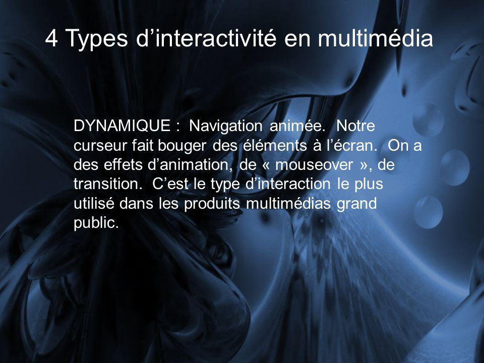 4 Types dinteractivité en multimédia DYNAMIQUE : Navigation animée. Notre curseur fait bouger des éléments à lécran. On a des effets danimation, de «