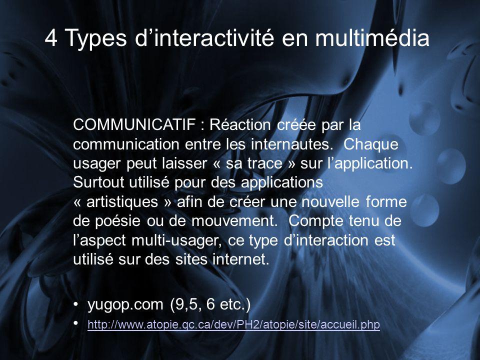 4 Types dinteractivité en multimédia COMMUNICATIF : Réaction créée par la communication entre les internautes. Chaque usager peut laisser « sa trace »