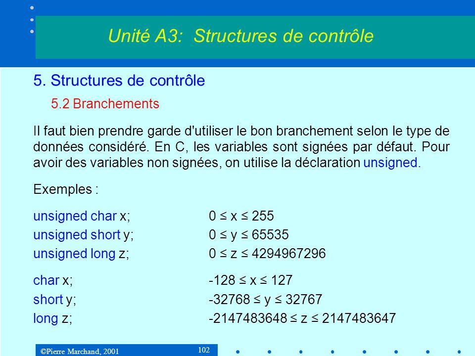 ©Pierre Marchand, 2001 102 5. Structures de contrôle 5.2 Branchements Il faut bien prendre garde d'utiliser le bon branchement selon le type de donnée