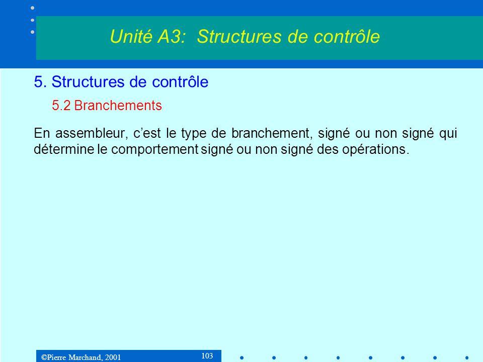 ©Pierre Marchand, 2001 103 5. Structures de contrôle 5.2 Branchements En assembleur, cest le type de branchement, signé ou non signé qui détermine le