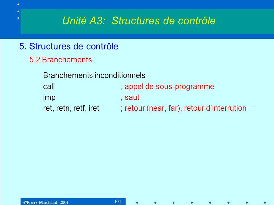 ©Pierre Marchand, 2001 104 5. Structures de contrôle 5.2 Branchements Branchements inconditionnels call; appel de sous-programme jmp; saut ret, retn,