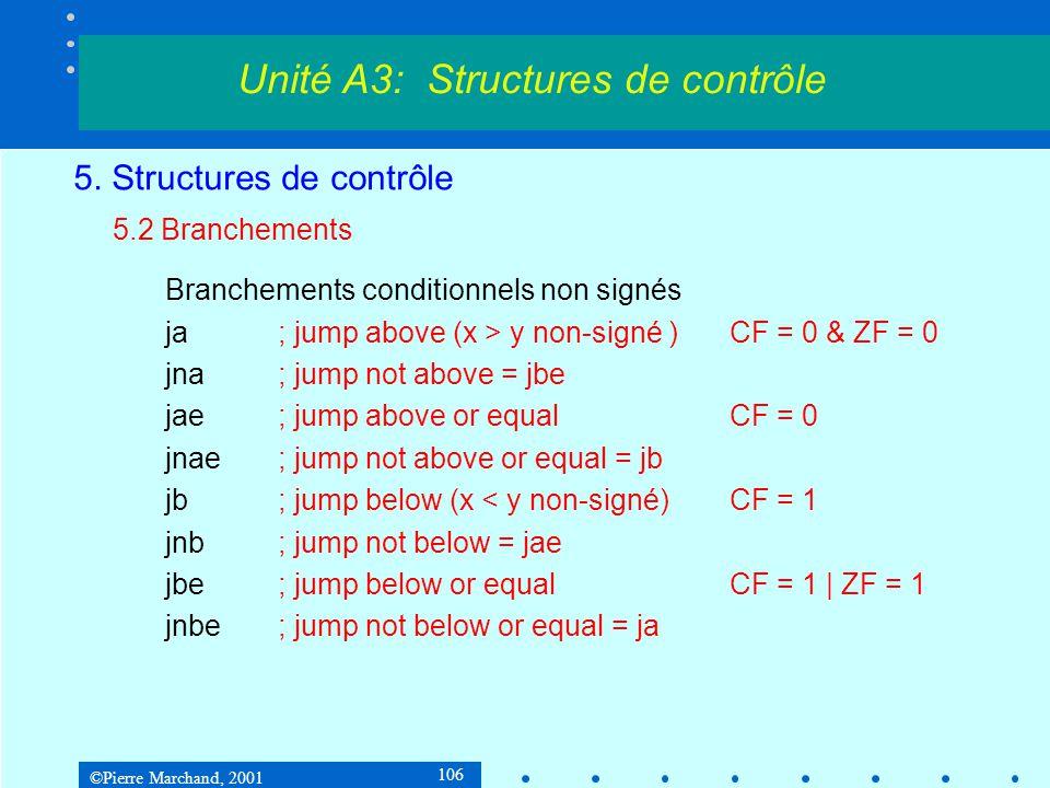 ©Pierre Marchand, 2001 106 5. Structures de contrôle 5.2 Branchements Branchements conditionnels non signés ja; jump above (x > y non-signé )CF = 0 &