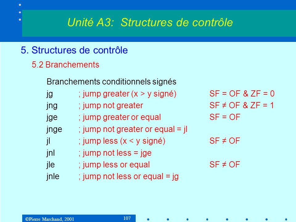 ©Pierre Marchand, 2001 107 5. Structures de contrôle 5.2 Branchements Branchements conditionnels signés jg; jump greater (x > y signé) SF = OF & ZF =