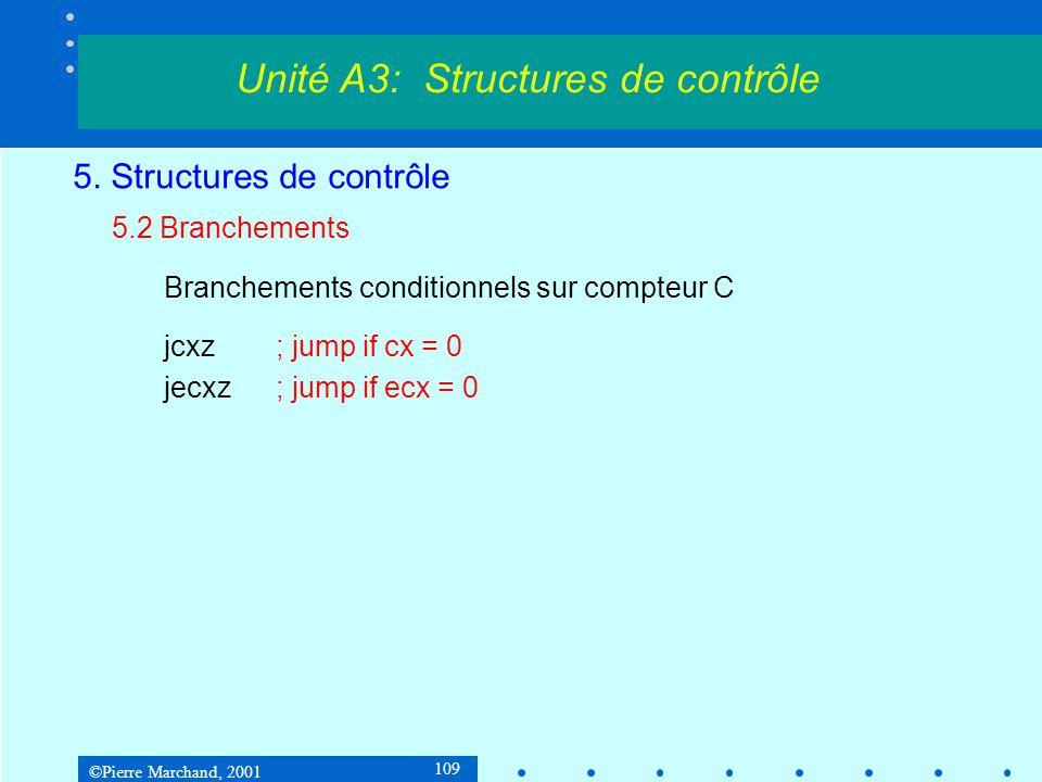 ©Pierre Marchand, 2001 109 5. Structures de contrôle 5.2 Branchements Branchements conditionnels sur compteur C jcxz; jump if cx = 0 jecxz; jump if ec
