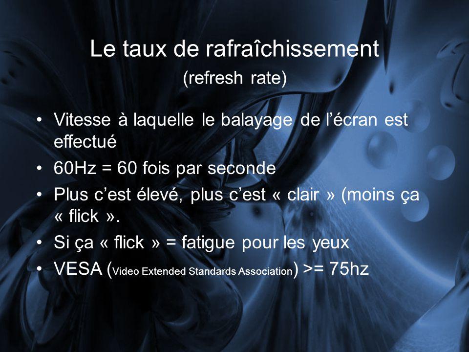 Le taux de rafraîchissement (refresh rate) Vitesse à laquelle le balayage de lécran est effectué 60Hz = 60 fois par seconde Plus cest élevé, plus cest « clair » (moins ça « flick ».