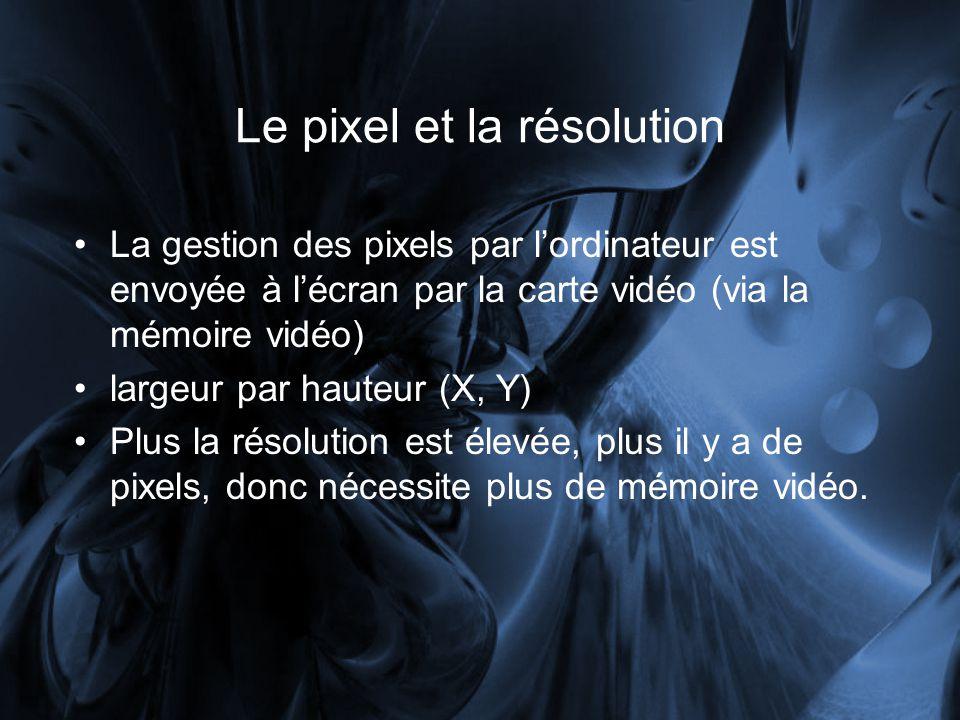 La gestion des pixels par lordinateur est envoyée à lécran par la carte vidéo (via la mémoire vidéo) largeur par hauteur (X, Y) Plus la résolution est élevée, plus il y a de pixels, donc nécessite plus de mémoire vidéo.