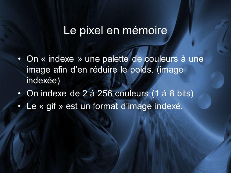 Le pixel en mémoire On « indexe » une palette de couleurs à une image afin den réduire le poids.