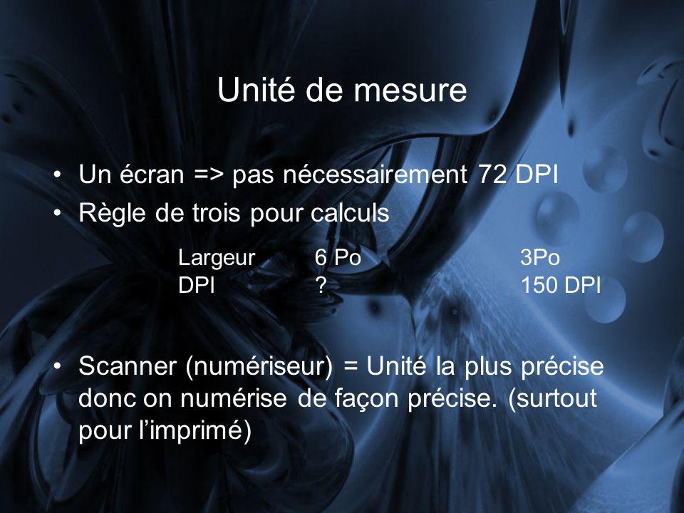 Unité de mesure Un écran => pas nécessairement 72 DPI Règle de trois pour calculs Scanner (numériseur) = Unité la plus précise donc on numérise de façon précise.
