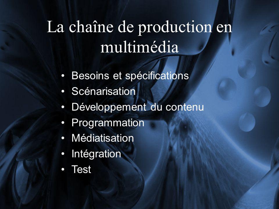 La chaîne de production en multimédia Besoins et spécifications Scénarisation Développement du contenu Programmation Médiatisation Intégration Test