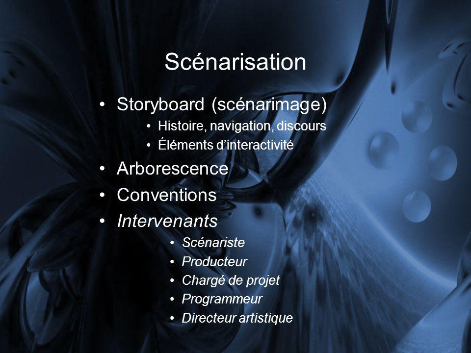 Scénarisation Storyboard (scénarimage) Histoire, navigation, discours Éléments dinteractivité Arborescence Conventions Intervenants Scénariste Producteur Chargé de projet Programmeur Directeur artistique