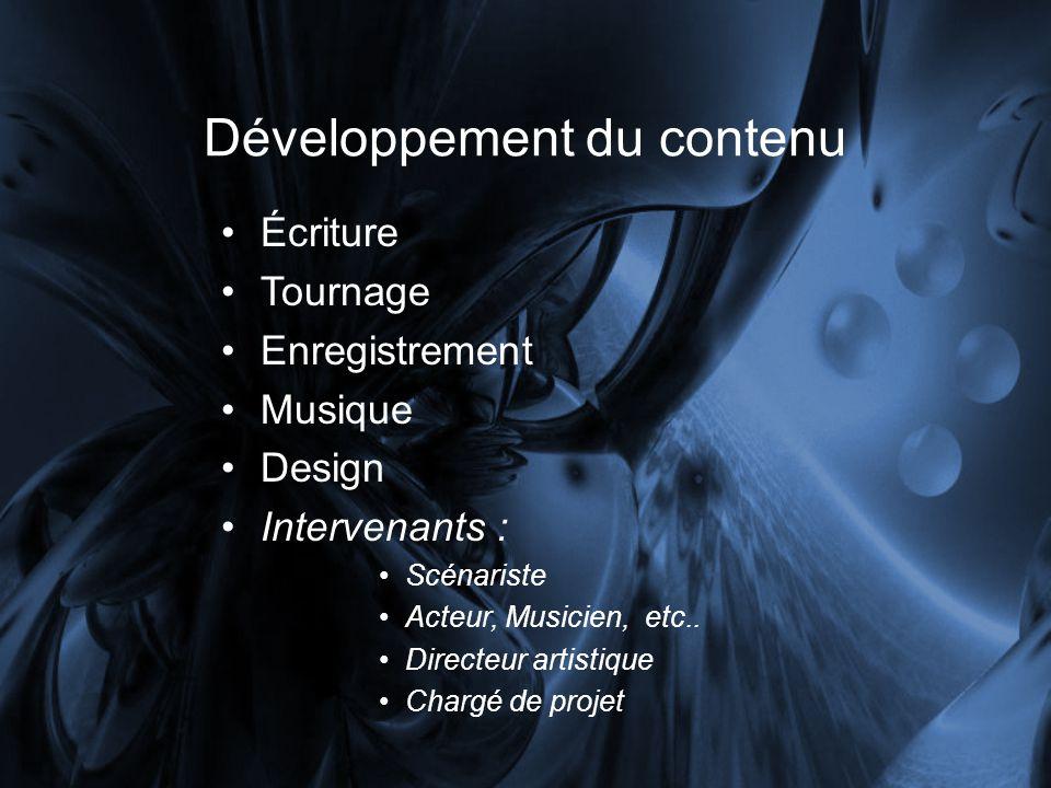 Développement du contenu Écriture Tournage Enregistrement Musique Design Intervenants : Scénariste Acteur, Musicien, etc..