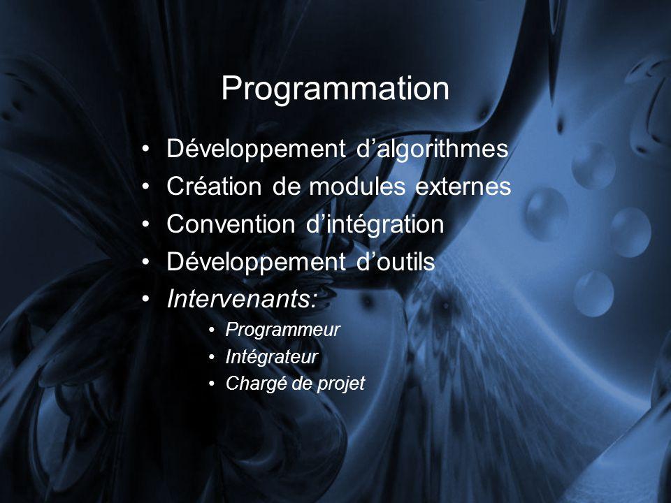 Programmation Développement dalgorithmes Création de modules externes Convention dintégration Développement doutils Intervenants: Programmeur Intégrateur Chargé de projet