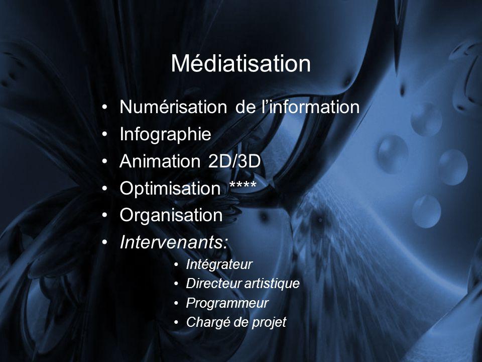Médiatisation Numérisation de linformation Infographie Animation 2D/3D Optimisation **** Organisation Intervenants: Intégrateur Directeur artistique Programmeur Chargé de projet