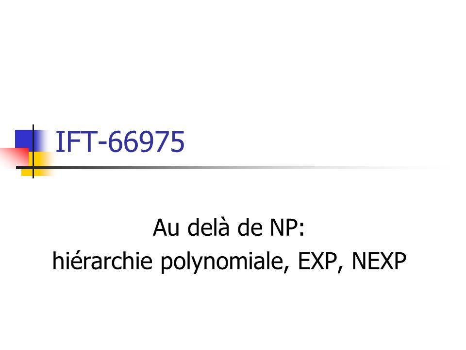 IFT-66975 Au delà de NP: hiérarchie polynomiale, EXP, NEXP