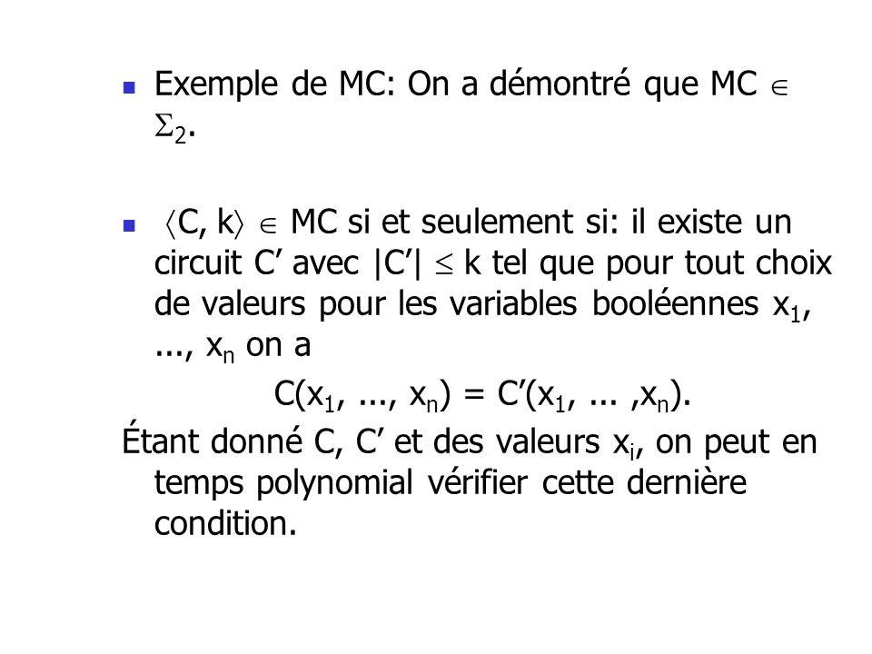 Exemple de MC: On a démontré que MC 2. C, k MC si et seulement si: il existe un circuit C avec |C| k tel que pour tout choix de valeurs pour les varia