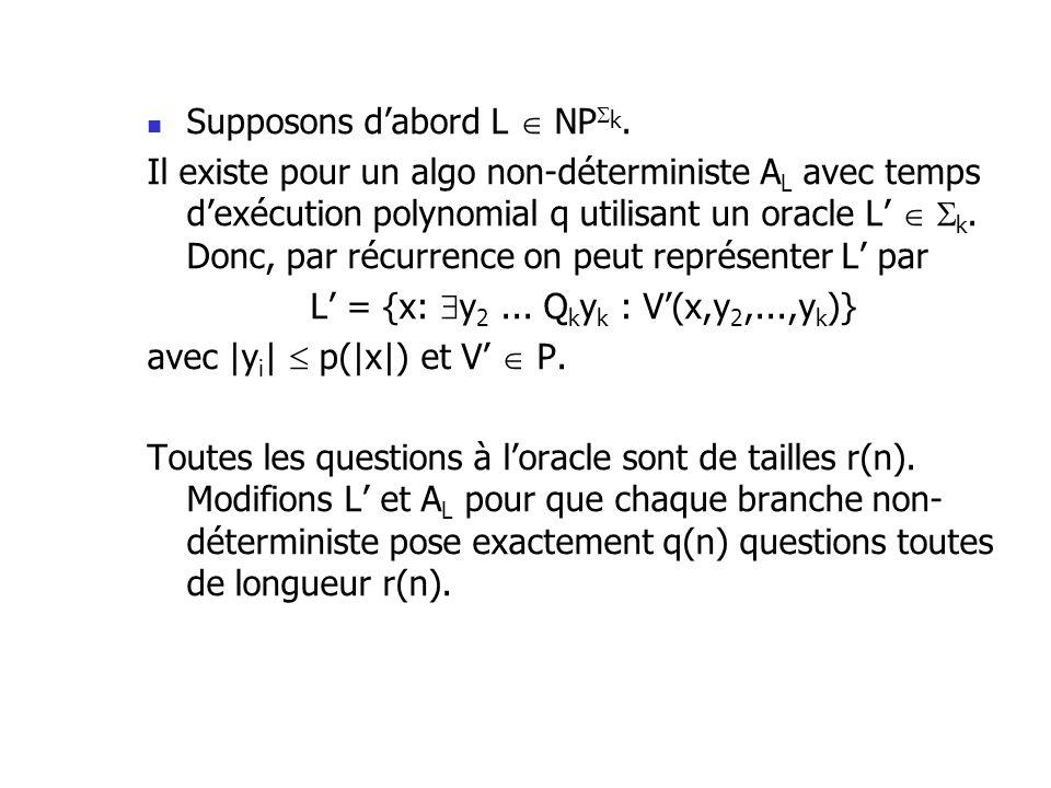 Supposons dabord L NP k. Il existe pour un algo non-déterministe A L avec temps dexécution polynomial q utilisant un oracle L k. Donc, par récurrence