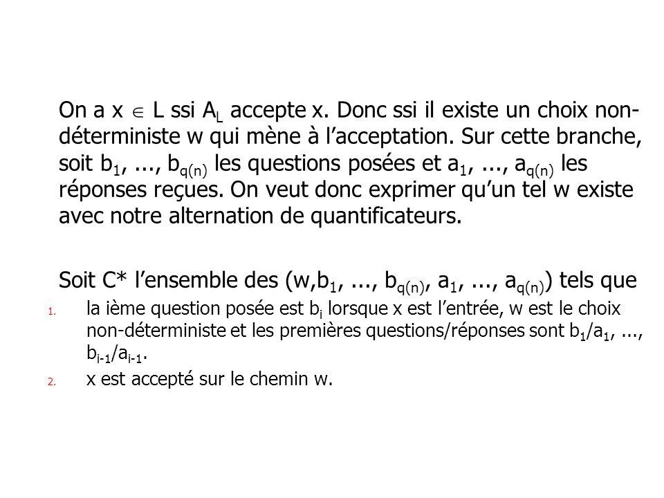 On a x L ssi A L accepte x. Donc ssi il existe un choix non- déterministe w qui mène à lacceptation. Sur cette branche, soit b 1,..., b q(n) les quest