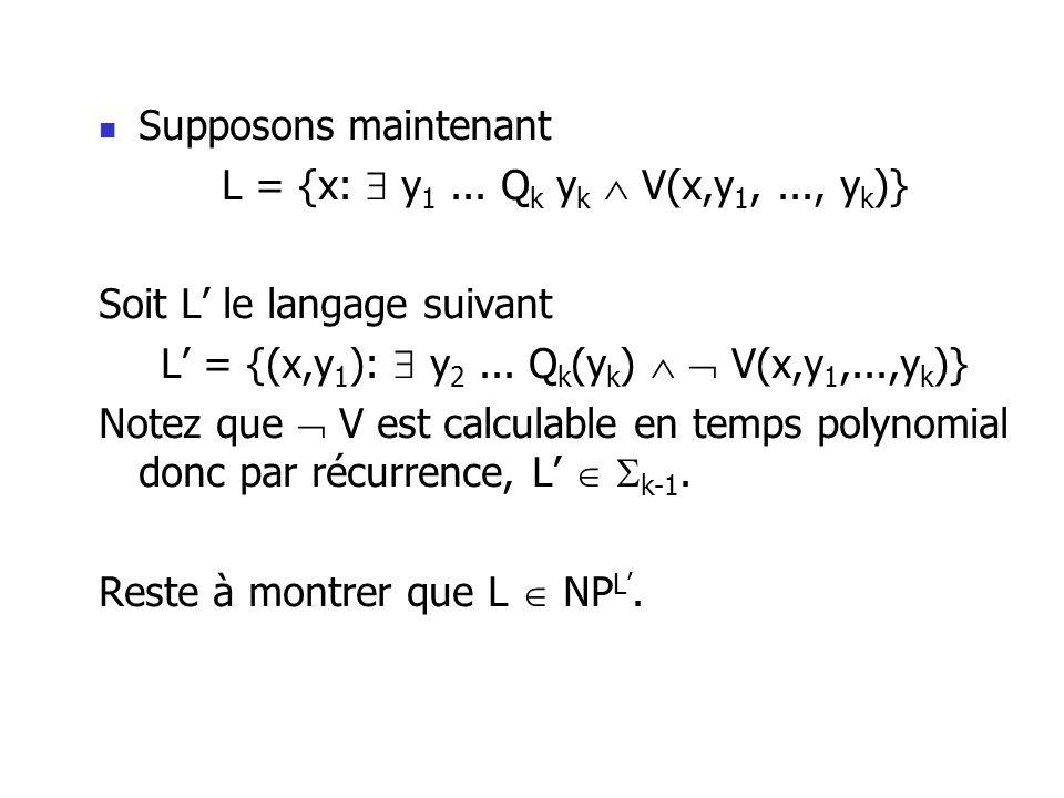 Supposons maintenant L = {x: y 1... Q k y k V(x,y 1,..., y k )} Soit L le langage suivant L = {(x,y 1 ): y 2... Q k (y k ) V(x,y 1,...,y k )} Notez qu
