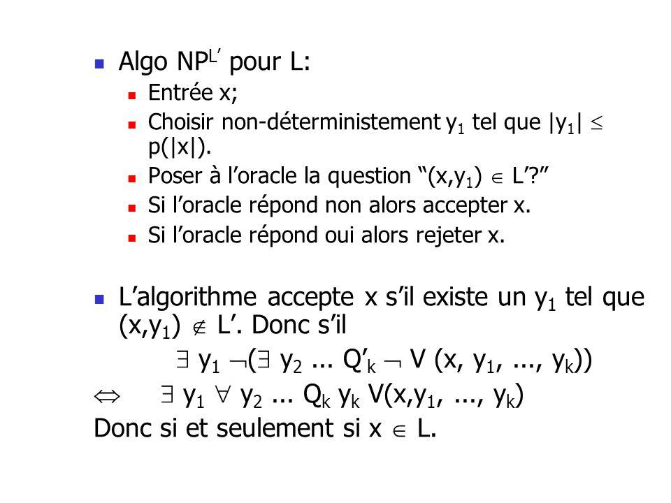 Algo NP L pour L: Entrée x; Choisir non-déterministement y 1 tel que |y 1 | p(|x|).