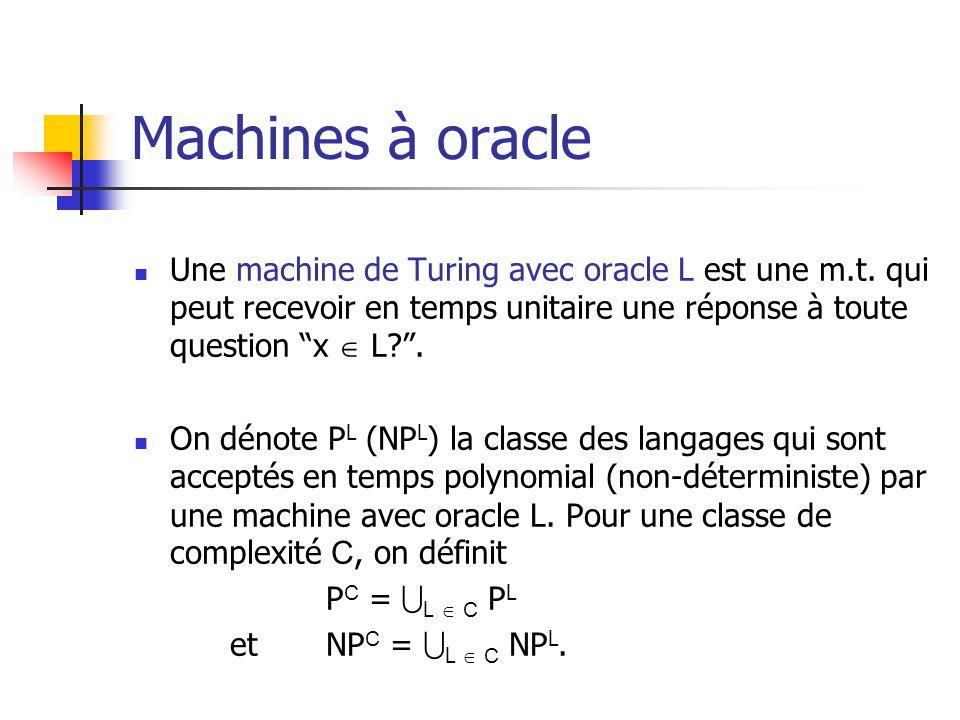 Machines à oracle Une machine de Turing avec oracle L est une m.t. qui peut recevoir en temps unitaire une réponse à toute question x L?. On dénote P