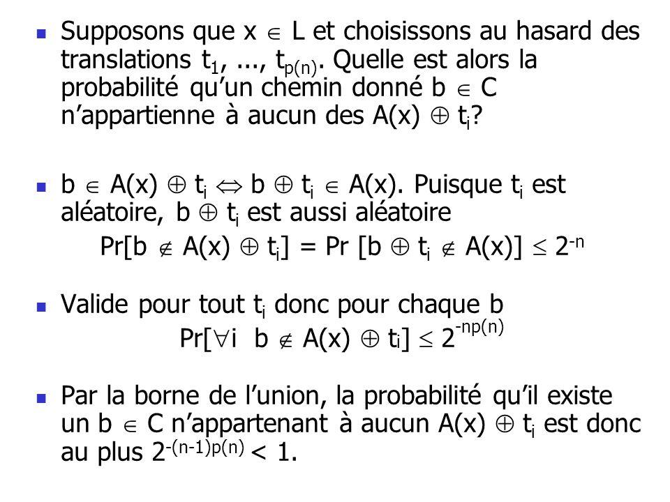 Supposons que x L et choisissons au hasard des translations t 1,..., t p(n).