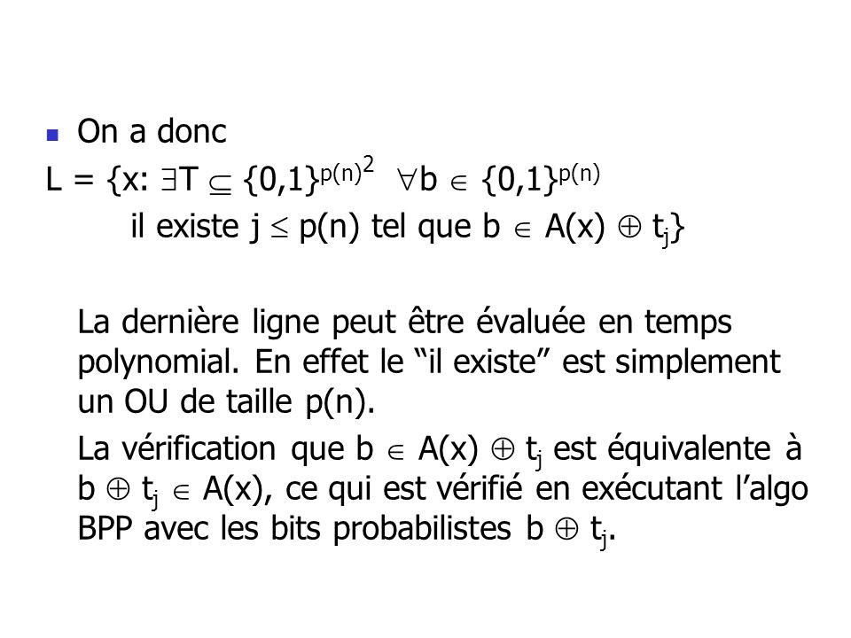 On a donc L = {x: T {0,1} p(n) 2 b {0,1} p(n) il existe j p(n) tel que b A(x) t j } La dernière ligne peut être évaluée en temps polynomial.