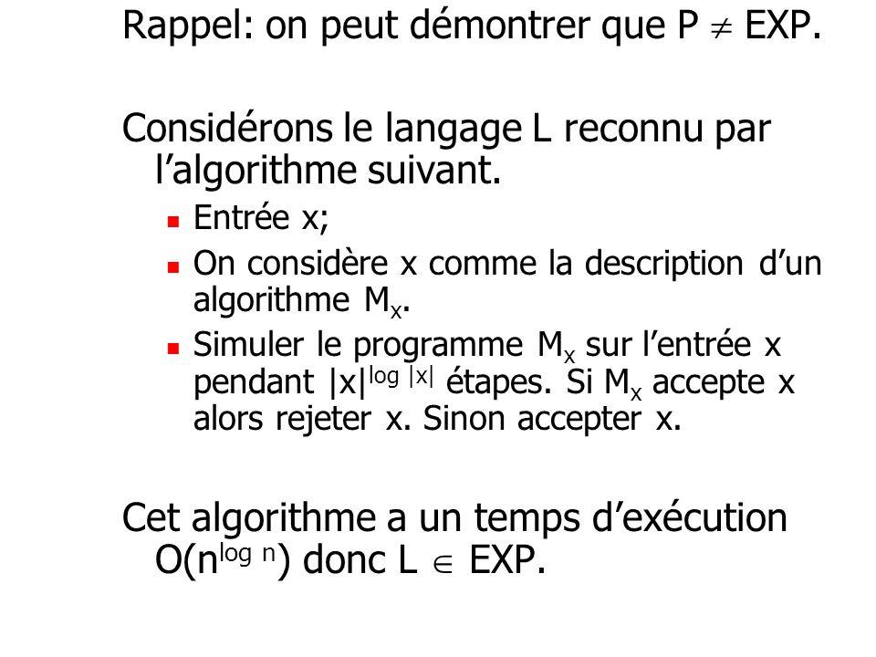 Rappel: on peut démontrer que P EXP.Considérons le langage L reconnu par lalgorithme suivant.
