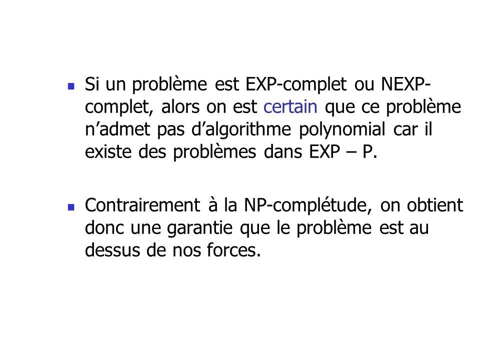Si un problème est EXP-complet ou NEXP- complet, alors on est certain que ce problème nadmet pas dalgorithme polynomial car il existe des problèmes dans EXP – P.