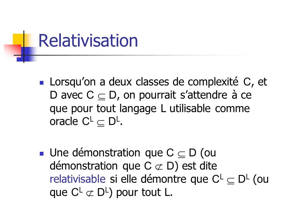 Relativisation Lorsquon a deux classes de complexité C, et D avec C D, on pourrait sattendre à ce que pour tout langage L utilisable comme oracle C L D L.