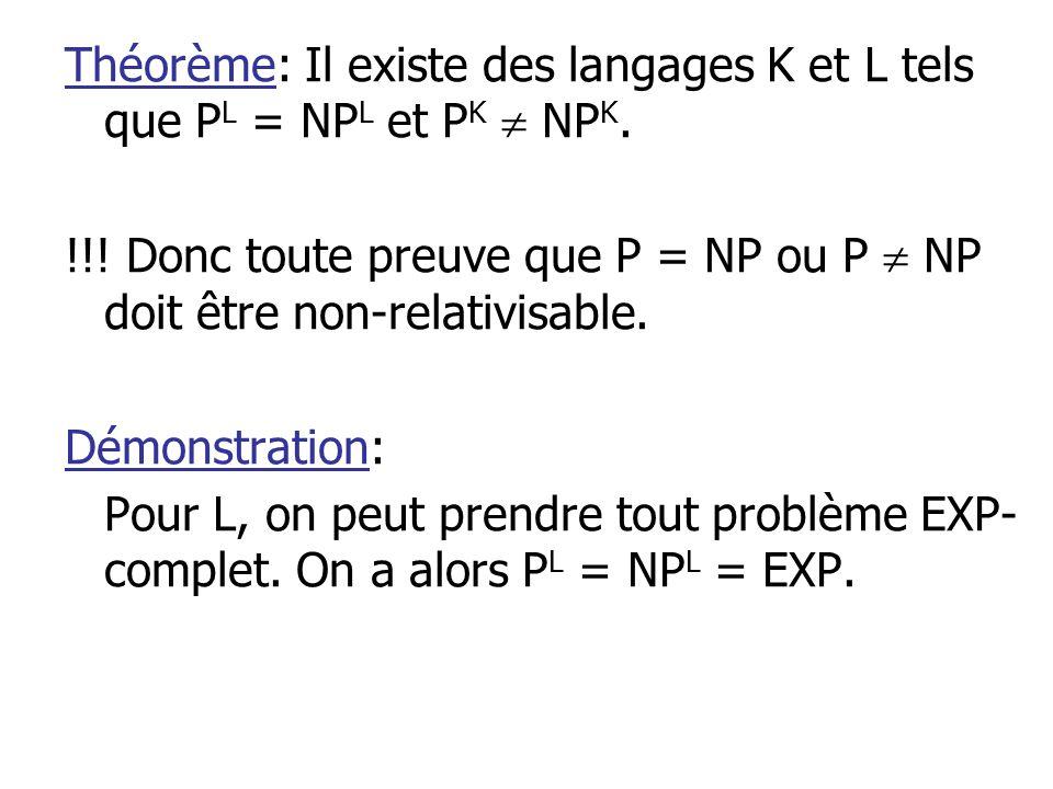 Théorème: Il existe des langages K et L tels que P L = NP L et P K NP K.