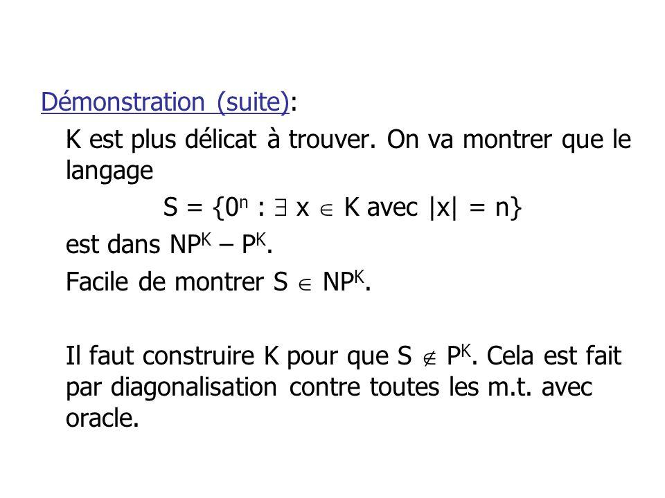 Démonstration (suite): K est plus délicat à trouver.