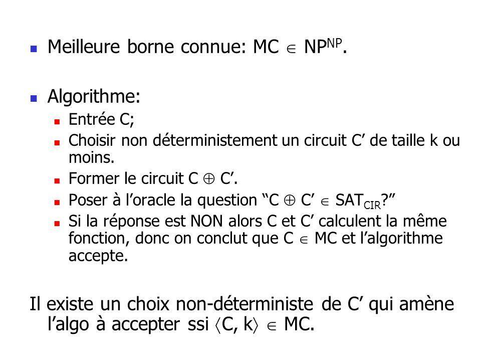 Par définition on a SAT k CIR k car lévaluation du circuit C se fait en temps polynomial.