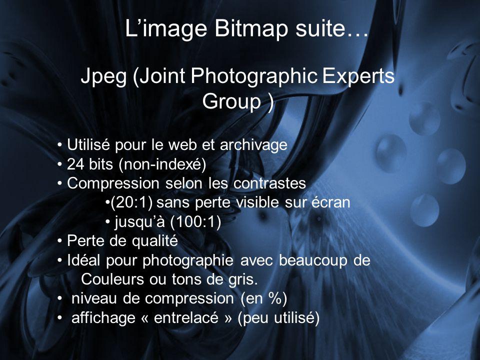 Limage Bitmap suite… Jpeg ( Joint Photographic Experts Group ) Utilisé pour le web et archivage 24 bits (non-indexé) Compression selon les contrastes (20:1) sans perte visible sur écran jusquà (100:1) Perte de qualité Idéal pour photographie avec beaucoup de Couleurs ou tons de gris.