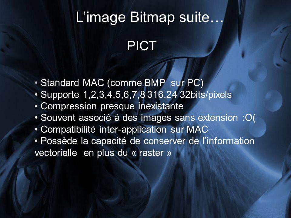 Limage Bitmap suite… PICT Standard MAC (comme BMP sur PC) Supporte 1,2,3,4,5,6,7,8 316,24 32bits/pixels Compression presque inexistante Souvent associé à des images sans extension :O( Compatibilité inter-application sur MAC Possède la capacité de conserver de linformation vectorielle en plus du « raster »