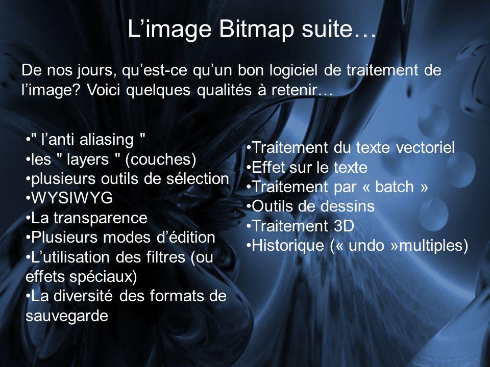 Limage Bitmap suite… De nos jours, quest-ce quun bon logiciel de traitement de limage.